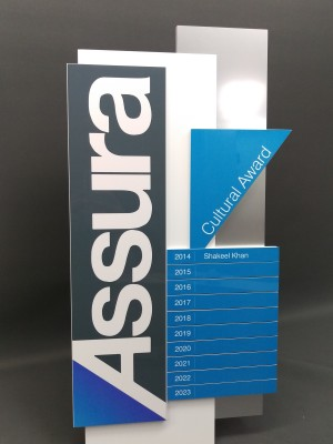 Assura - perpetual plaque. Laser cut aluminium and acrlyic