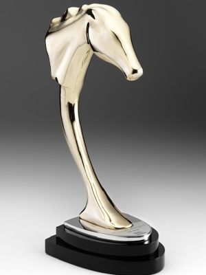 Australian Racehorse of the Year. Custom metal polished finish, black and chrome base. W: 300mm W: 150mm