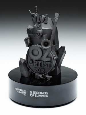 Channel V-Oz Artist Awards. Custom resin with custom paint finish on piano black base H: 250mm W: 200mm