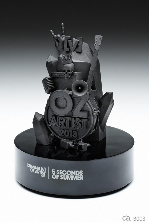 Channel V-Oz Artist Awards. Custom resin with custom paint finish on piano black base H: 250mm W: 200mm