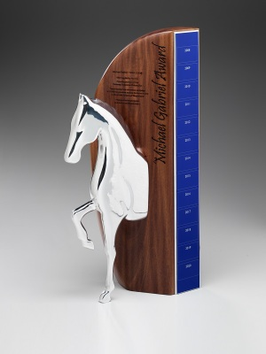 Michael Gabriel Award-Custom metal with select timber backing. H: 350mm W: 100mm