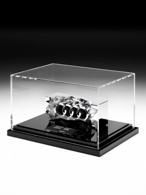 Audi Australia-Dealer Awards - Custom cut aluminium with chrome plated finish. Mounted on a piano black base and enclosed in a perspex case. H: 230 mm W: 100mm
