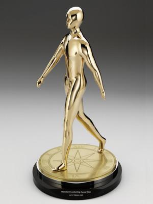Rabobank-Leadership Awards. Custom metal, gold finish. H: 500mm W: 110mm