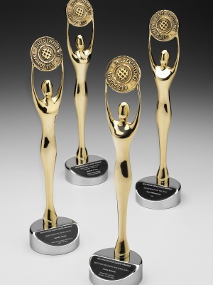 News Limited-Sales Excellence Awards. Custom metal gold and silver finish with name plate. H: 300mm W: 90mm