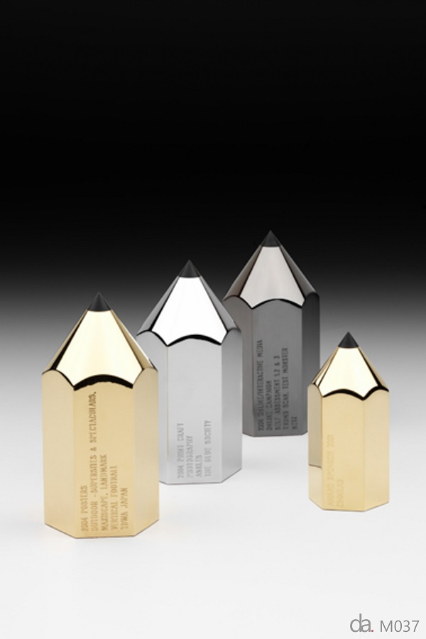 The Australasian Writers & Directors Association (AWARD) Trophies- Custom metal, gold, silver and chrome finish , H: 130mm W: 70mm