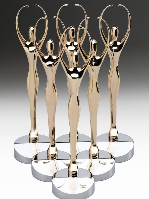 Department of Commerce-Amber Awards. Custom metal, gold finish with solid chrome base. H: 260mm W: 60mm