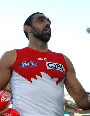 Adam Goodes holding the Marn Grook Trophy