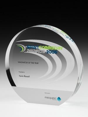 Span Commsday Awards-Custom Acrylic, custom paint finish H: 180mm W: 180mm