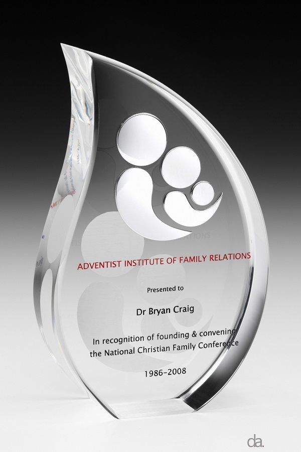 Adventist Institute of Family Relations-Recognition Awards. Custom acrylic with mounted logo. H: 180mm W: 120 mm