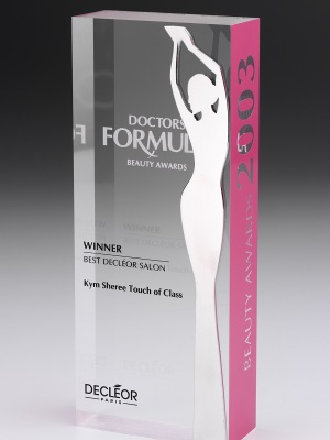 Decleor Paris-Doctors Formula Beauty Awards. Custom acrylic, photographic aluminium. H: 250mm W: 120mm