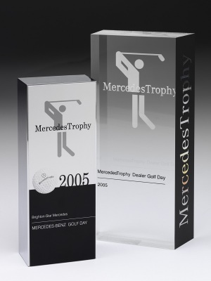 Mercedes Benz-Dealer Golf Day Awards. Custom acrylic with photographic aluminium. H: 210mm W: 80mm