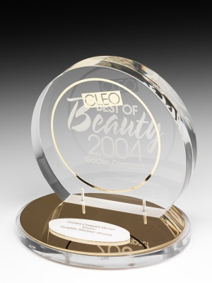 Cleo Magazine-Best of Beauty Awards. Custom acrylic on acrylic base. H: 200mm W: 200 mm.