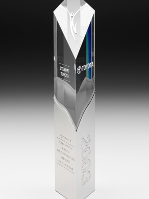 Toyota-Dealer of the Year Awards. Custom crystal piece with custom metal sheaf H: 400mm W: 90mm