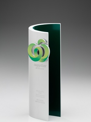Woolworths Supplier Award-Custom metal, mounted logo, custom paint finish. H: 290mm W: 100mm.