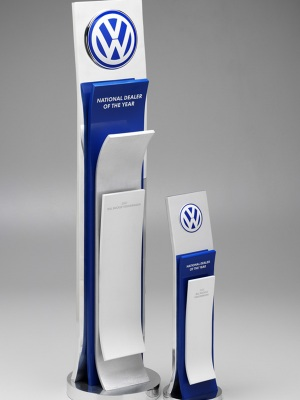 Volkswagon-National Dealer of the Year Award. Custom metal with anodised colour finish and mounted logo H: 320mm W: 110mm