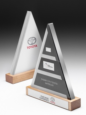 Toyota-Purchase Experience Awards. Timber base with nameplate, solid custom metal pyramid. H: 320mm W: 200mm