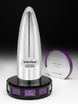 Interface-Outstanding Region Awards. Custom metal, polished finish, solid chrome base. H: 320mm W: 110mm