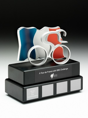 SBS - A Tour de France with SBS Challenge. Custom metal , piano black base. Photographic aluminium flag. H: 250mm W: 200mm.