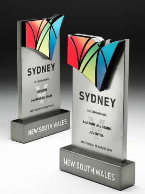 Destination NSW-A-League All Stars. Custom Metal, polished finish, photographic aluminium. W: 500mm W: 290mm