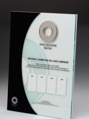 Macquarie Bank-National Champions Plaque. Custom plaque with photographic aluminium. H: 600mm W: 220mm.