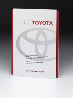 Toyota-Commemorative Plaque. Custom metal plaque with photographic aluminium. H: 290mm W: 210mm.