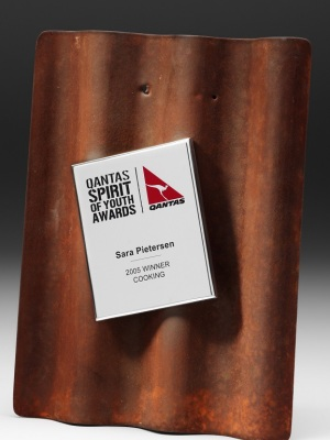 Qantas-The Spirit of Youth Awards. Custom plaque with mounted logo. H: 300mm W: 220mm