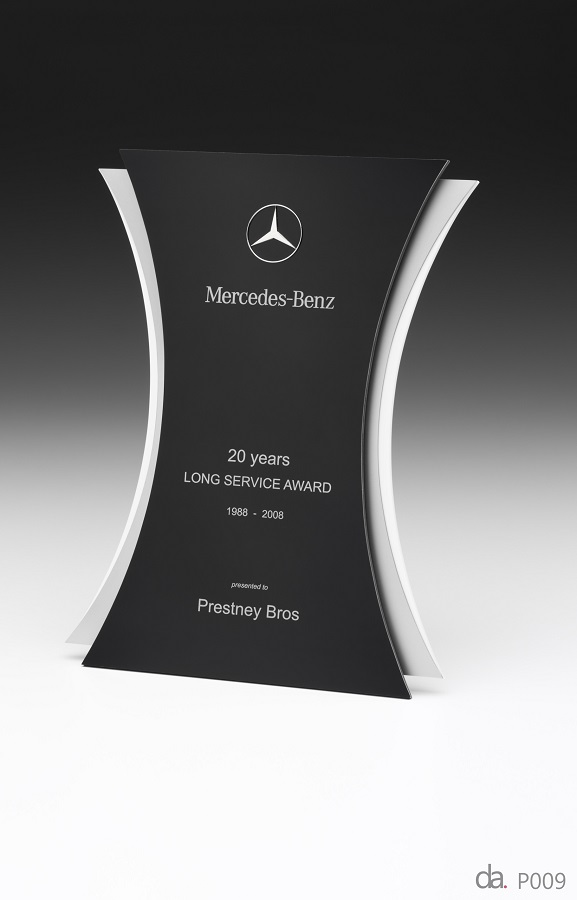 Mercedes Benz-Long Service Awards. Custom metal plaque with photographic aluminium. H: 300mm W: 220mm.