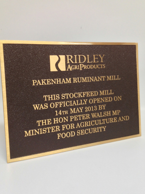 Ridley Plaque-Custom cast metal plaque. H: 300mm W: 400mm.
