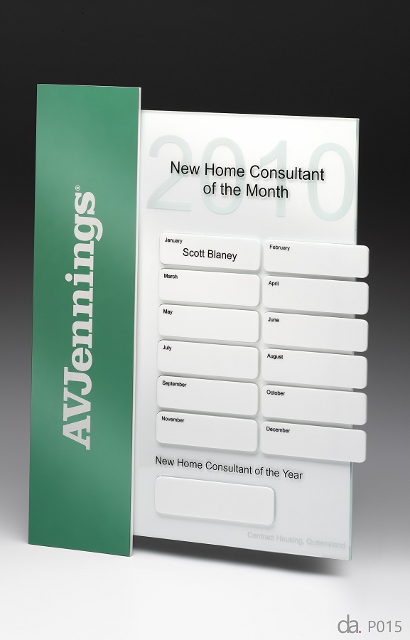 AV Jennings. Home Consultant of the Year. Custom plaque with photographic aluminium. H: 400mm W: 220mm.