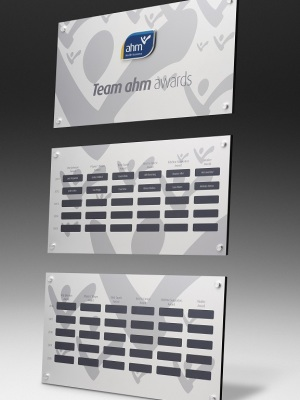 AHM-Team Awards. Custom plaque with magnetic name plates. H: 750mm W: 500mm.