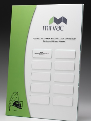 Mirvac-National Excellence in Health Safety & Environment. Custom plaque with photographic aluminium H: 300mm W: 200mm.