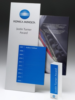 Konica Minolta-Justin Turner Award. Custom plaque with photographic aluminium. H: 450mm W: 450mm.