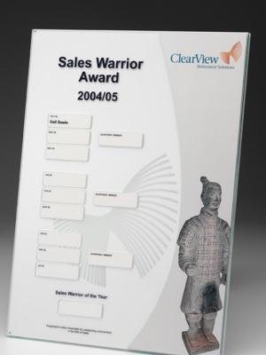 Macquarie Bank-Sales plaques. Custom plaque with photographic aluminium. H: 440mm W: 220mm.