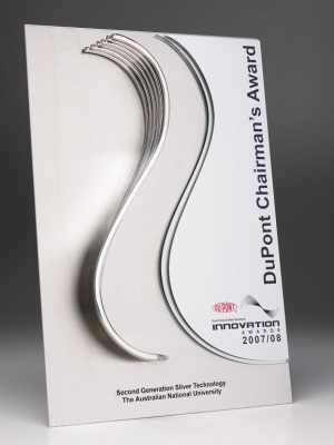 DuPont Chairmans Award-Custom metal design affixed to photographic aluminium plate H: 500 mm W: 300mm