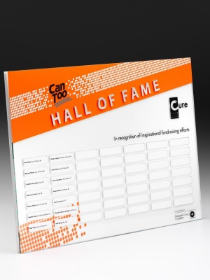 Can Too - Hall of Fame Award. Custom plaque with photographic aluminium. H: 450mm W: 600mm.
