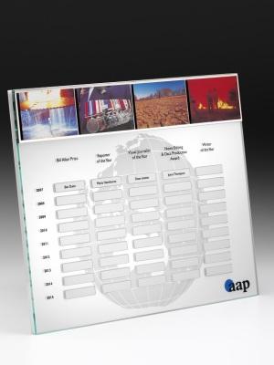 Australian Associated Press-Acrylic plaque, photographic aluminium. H: 900mm W: 500mm.