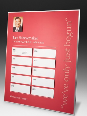 Woolworths Limited-Jack Schewmaker Innovation Awards. Custom plaque with photographic aluminium. H: 500mm W: 500mm.