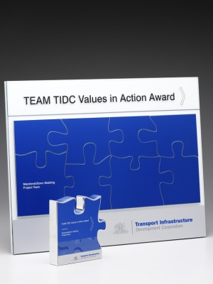 Transport Infrastructure Development Corporation-Values in Action Award. Values in Action Award. Custom plaque with photographic aluminium H: 450mm W: 600mm.