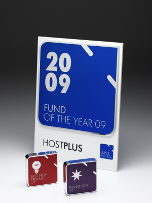 HostPlus-Fund of the Year Awards. Custom plaque with photographic aluminium. H: 300mm W: 220mm