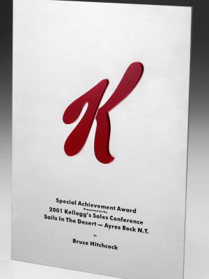 Kellogs-Special Achievement Award. Custom metal plaque with photographic aluminium. H: 290mm W: 210mm.