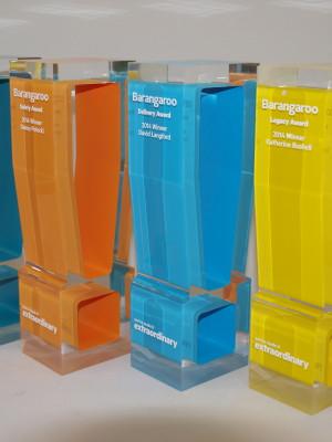Barangaroo Awards - custom cut acrylic awards coloured, engraved and colour filled text
