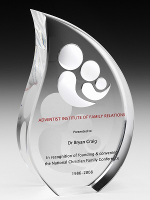 AIFR Award - hand cut and polished award with polished aluminium logo and soft laser etch to rear