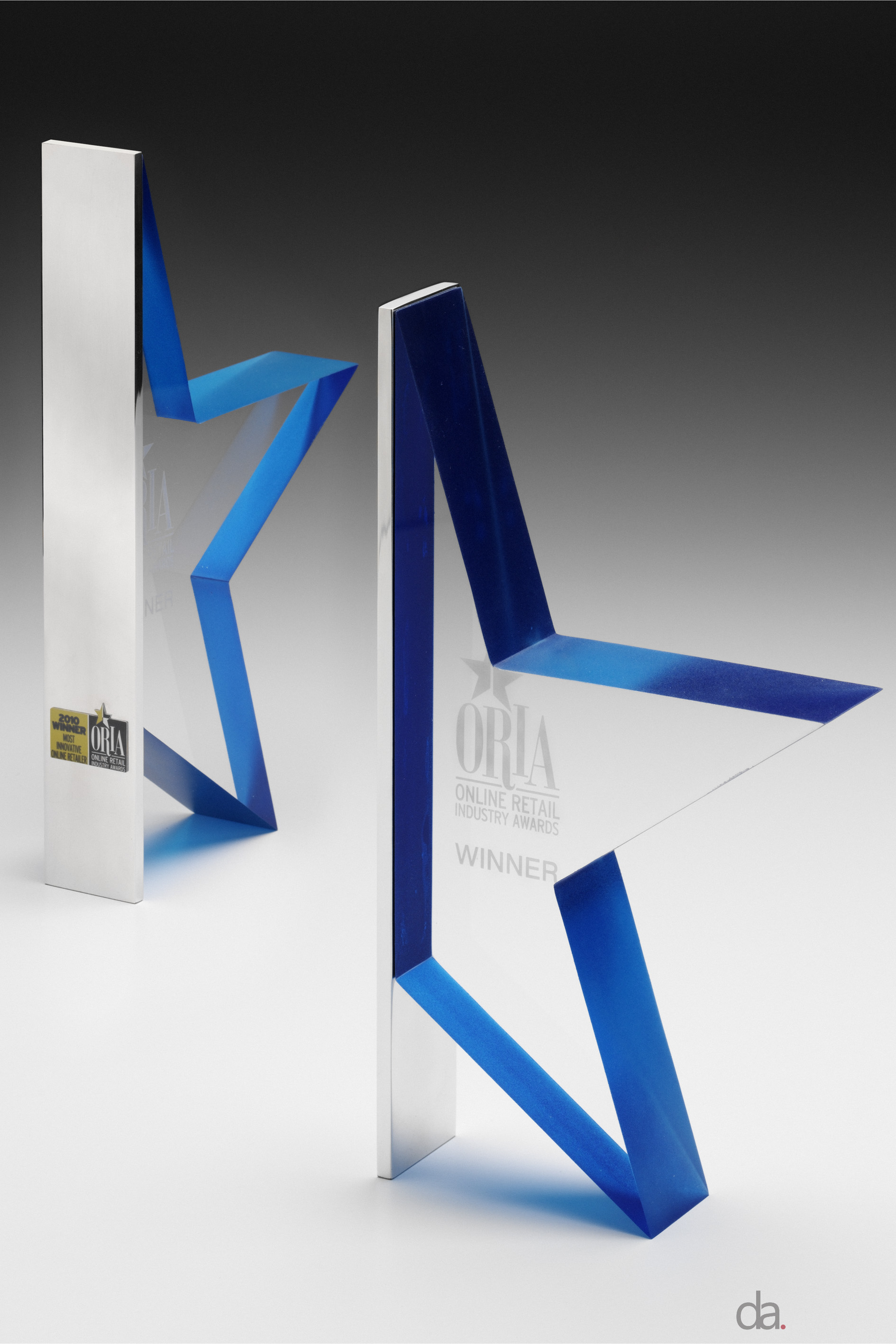 ORIAs -custom shaped acrylic, custom coloured with aluminium plating