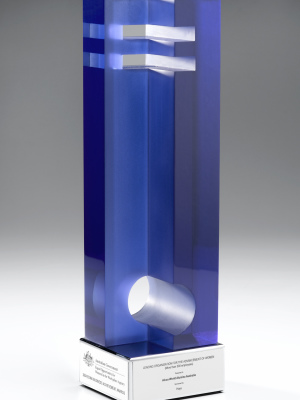Australian Government - custom coloured, cut and shaped acrylic award