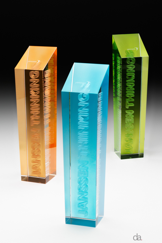 Janssen Thinking. Custom Coloured Crystal Award with 3D Engraved text. 300 mm high