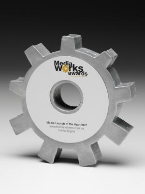 Media works Awards - custom aluminium with photographic faceplate