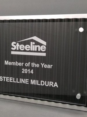 Steeline - corrugated plaque. Aluminium, acrylic and steel