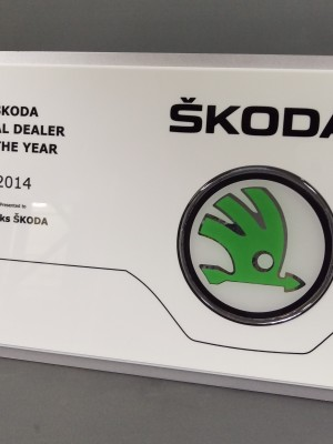 Skoda - custom multi layered plaque | Award plaques