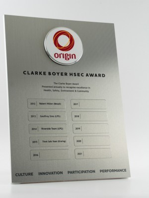 Origin Energy Perpetual Award Plaque
