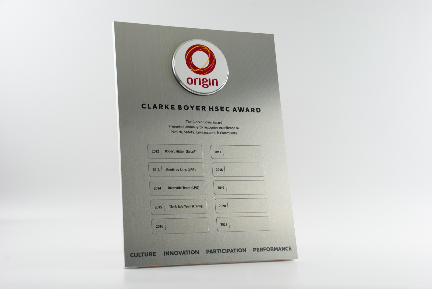 Origin Energy Perpetual Award Plaque